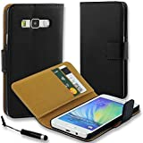 Connect Zone® Black Genuine Leather Flip Wallet Case Cover Pouch for Samsung Galaxy J5 (SM-J500) with Screen Protector, Polishing Cloth and Mini Touch Screen Stylus