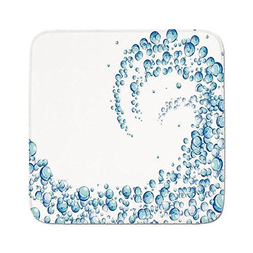 Cozy Seat Protector Pads Cushion Area Rug,Blue,Water Droplets Bubbles of Air Aquatic Fresh Simple Pattern Splashes Waves Ocean Decorative,Blue Aqua White,Easy to Use on Any Surface