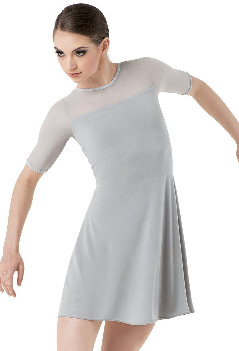 Balera Dress Girls Tunic For Dance With Mesh and Attachhed Biketard Shift Dress Soft Gray Adult Small by Balera