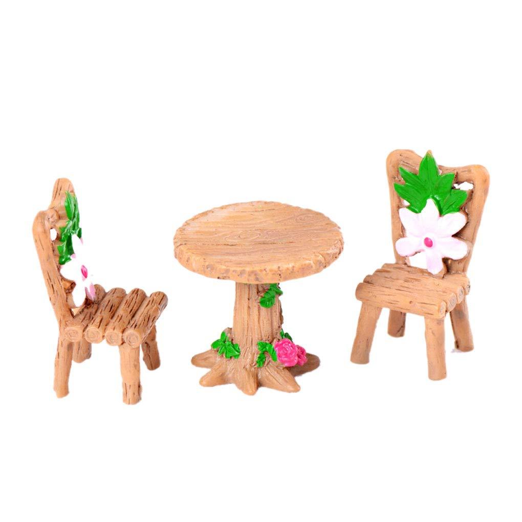 3PCS Table Chaise R/ésine Artisanat Micro Paysage Ornement Jardin f/éerique Miniature Terrarium Figurine d/écoration Regard