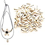 150 PCs Genuine Cowrie Shells for Jewelry Making and Home Décor Plus 2 Free Necklaces - Smooth Cut Oval Ocean Beach Spiral Sea Shells - Great for African, Ethnic, Native American Designs