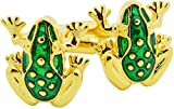 HEHIM(TM) 2 PCS Cuff Links for Men Gold & Green Frog With Gift Box FCL-014