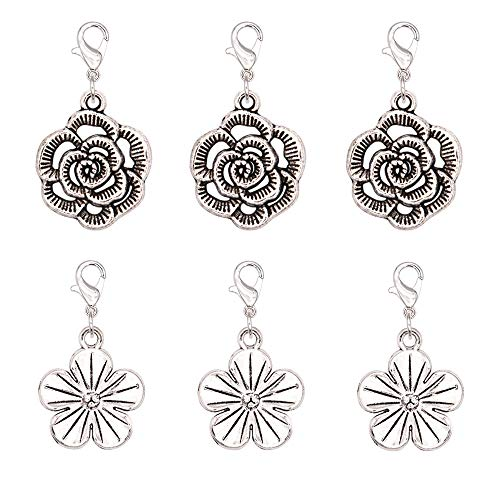 (Ascrafter Rose and Sakura Zipper Pull Charms, Set of 6 Flower Stitch Markers for Knitting, Crochet Markers, Purse Charms, Jewelry Charm)