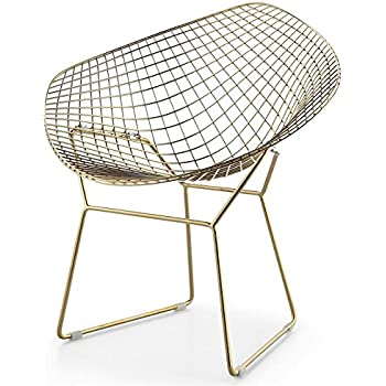 Wire Mesh Bertoia Style Diamond Chair In Gold Finish
