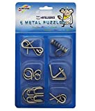 IQ Test Mind Game Toys Brain Teaser Metal Wire Puzzles Magic Trick Set of 6 (Stainless Steel 6 Metallic Intellectual Puzzles For All Age Groups.) mw puzzle