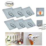 Adhesive Hooks, Heavy Duty Wall Hooks, Waterproof/Oilproof Plastic and Stainless steel Household hooks for Hair dryer/Mop/Clothes-6PCS