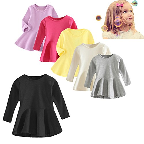 Baby Girls Dress Long Sleeve Infant Tops Cotton Toddler Blouse Pink Ruffle T Shirt Playwear