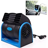 1-Auto Car Fan Vehicle Fan Adjustment Suction Cup Car Auto Cooling Air Fan - Powerful Quiet Rotatable, Stepless Speed (Blue)