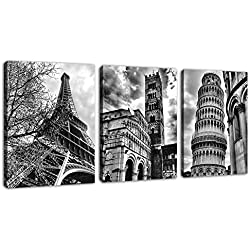 "Famous Architecture Canvas Prints Wall Art Decor Framed Ready to Hang - 3 Panel 12"" x 16"" Modern Building Giclee Prints on Canvas for Home Office Decoration - Eiffel Tower Leaning Tower of Pisa Italy"