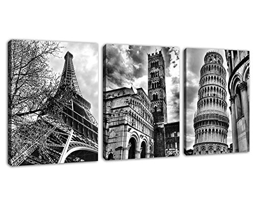 """Wall Art Famous Architecture Canvas Picture Framed Ready to Hang Modern Building Canvas Prints Artwork for Home Office Decoration - Eiffel Tower Leaning Tower of Pisa Italy 12"""" x 16"""" x 3 Pieces"""