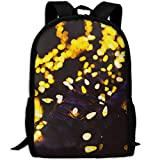 Markui Adult Travel Hiking Laptop Backpack Yellow Light Point Background School Multipurpose Durable Daypacks Zipper Bags Fashion