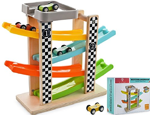 Wooden Ramp Racer Race Track Toy Car Vehicle Activity Playset with 4 Cars and Parking Garage for Toddlers Kids Boys and Girls 18 Months and Older (Wooden Cars Set Race)