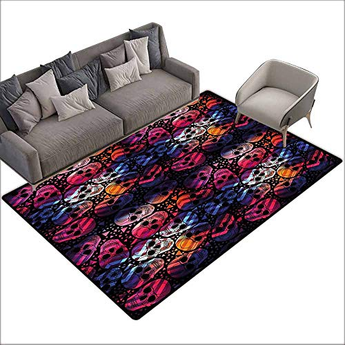 Floor Rug Pattern Halloween Mexican Sugar Skulls Stylized Digital Polygonal Geometric All Saint Day Display Suitable for Outdoor and Indoor use W6'7 x L8'10 Multicolor -