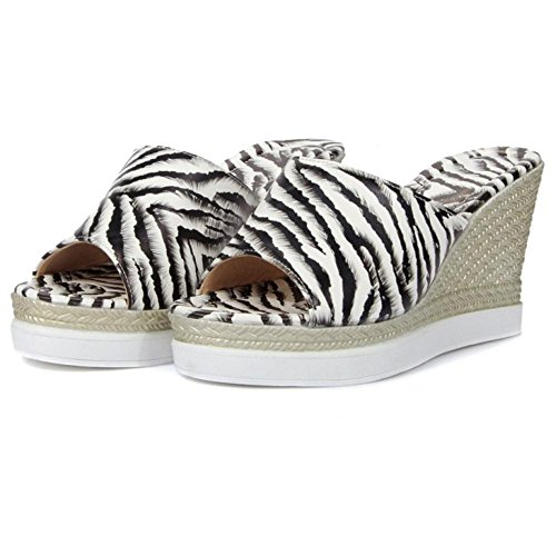 Mules White High Wedges KemeKiss Women Zebra OUtS7S