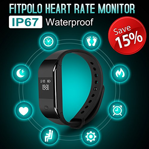 Fitpolo Fitness Tracker,IP67 Waterproof Smart Bracelet Heart Rate Monitor with Step and Calorie Counter  Pedometer Activity Tracker for Android and IOS Devices
