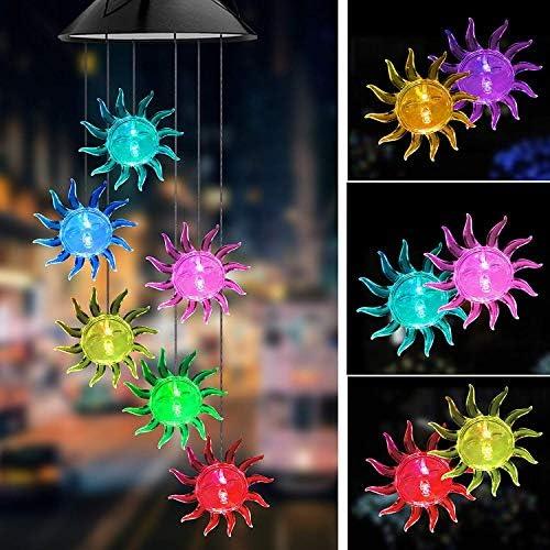 Solar LED Mobile Windspiel Farbwechsel Solarleuchten Solarbetriebene Mobile Windspiele Licht Gartenbeleuchtung für Terrasse Deck Hof Rasen Hinterhöfe Wege Garten Deko
