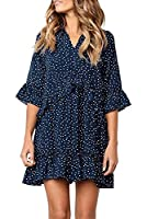 Women's Lantern Long Sleeve Tunic Dress V Neck Loose Swing Shift Dresses