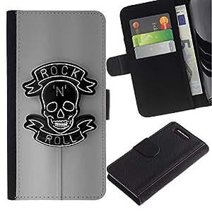 Stuss Case / Funda Carcasa PU de Cuero - Rollo de la roca gris Negro Muestra de neón N Skull - Sony Xperia Z3 Compact