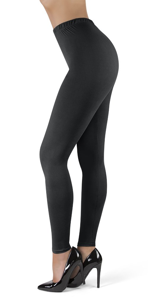 Satina High Waisted Leggings Women   New Full Length w/Stretch Waistband   Ultra Soft Opaque Non See Through (OneSize, Black) by Sejora (Image #1)