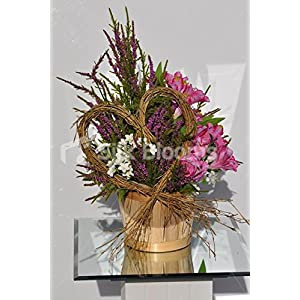Rustic Country Inspired Pink Alstroemeria Basket Floral Display with Heather and Stephanotis 1
