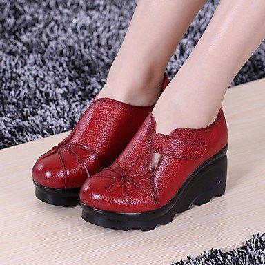 LvYuan-ggx Damen PU Flache Schuhe PU Damen Frühling Herbst Blockabsatz Weiß Schwarz Rot 2,5 - 4,5 cm Weiß b88504