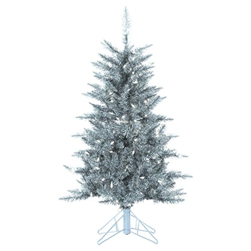 Sterling Tree Company 4ft Pre-lit Premium Silver Tuscany Artificial Christmas Tree w/ 150 UL Certified Clear Lights, Stand, 300 Tips, 28in base (Christmas Prelit Tree 4ft)