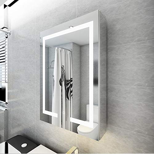 Bathroom cabinet Mirror cabinet Anti-Fog Illuminated/Illuminated Mirror Wall /Bathroom Mirror Cabinet Stainless -