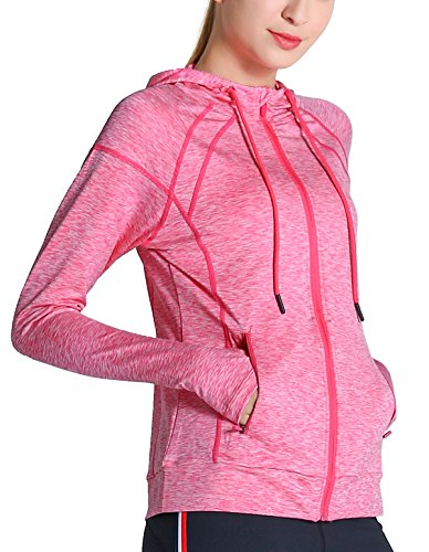 Fastorm Womens Full Zip Athletic Jacket Hoodie Activewear Workout Sweatshirt Track Jackets With Thumb Holes Hot Pink XL