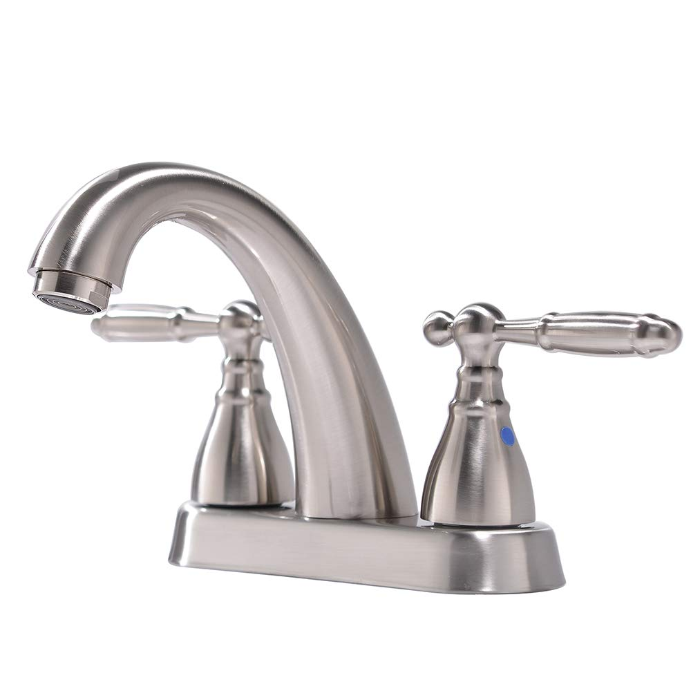Friho Modern Commercial Lead-Free Two Handle Two-Hole Lavatory Vanity Bathroom Sink Faucet,Brushed Nickel Bathroom Faucets