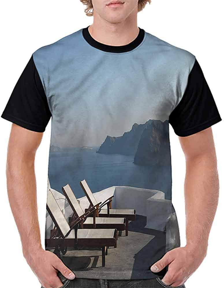 BlountDecor Performance T-Shirt,Sunlounger Terrace Santorini Fashion Personality Customization