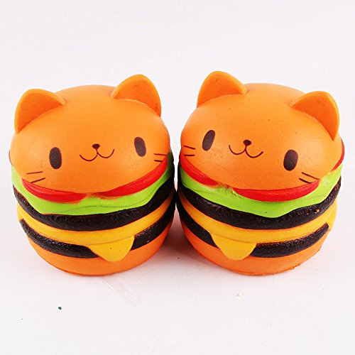 Zero The Ghost Dog Costume (Mae Mali 2 pcs Jumbo slow rising Squishy Cat Hamburgers Cream toy. Jumbo Food Squishy, Toys For Kids and Adults)