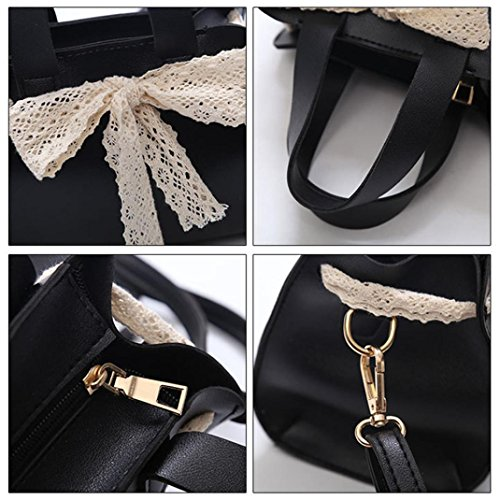 Bag Women Bag Crossbody Bowknot For Messenger Black Girl Shoulder NXDA Lace For Cute Handbag Black Women Zipper Bag 1nqfwpP