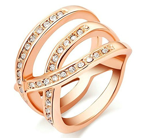 Alimab Jewelry Rings Gold Plated Womens Engagement Round Cubic Zirconia Geometrical Shape Size 8 (Big Bad Wolf Makeup)