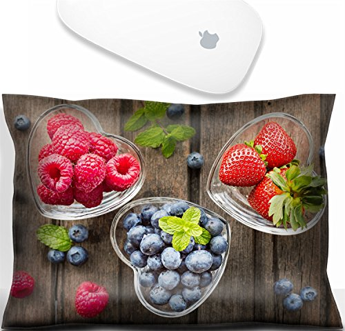 Luxlady Mouse Wrist Rest Office Decor Wrist Supporter Pillow IMAGE: 41294551 Mix of fresh berries in three glass ramekins in shape of heart on wooden background top view horizontal composition ()