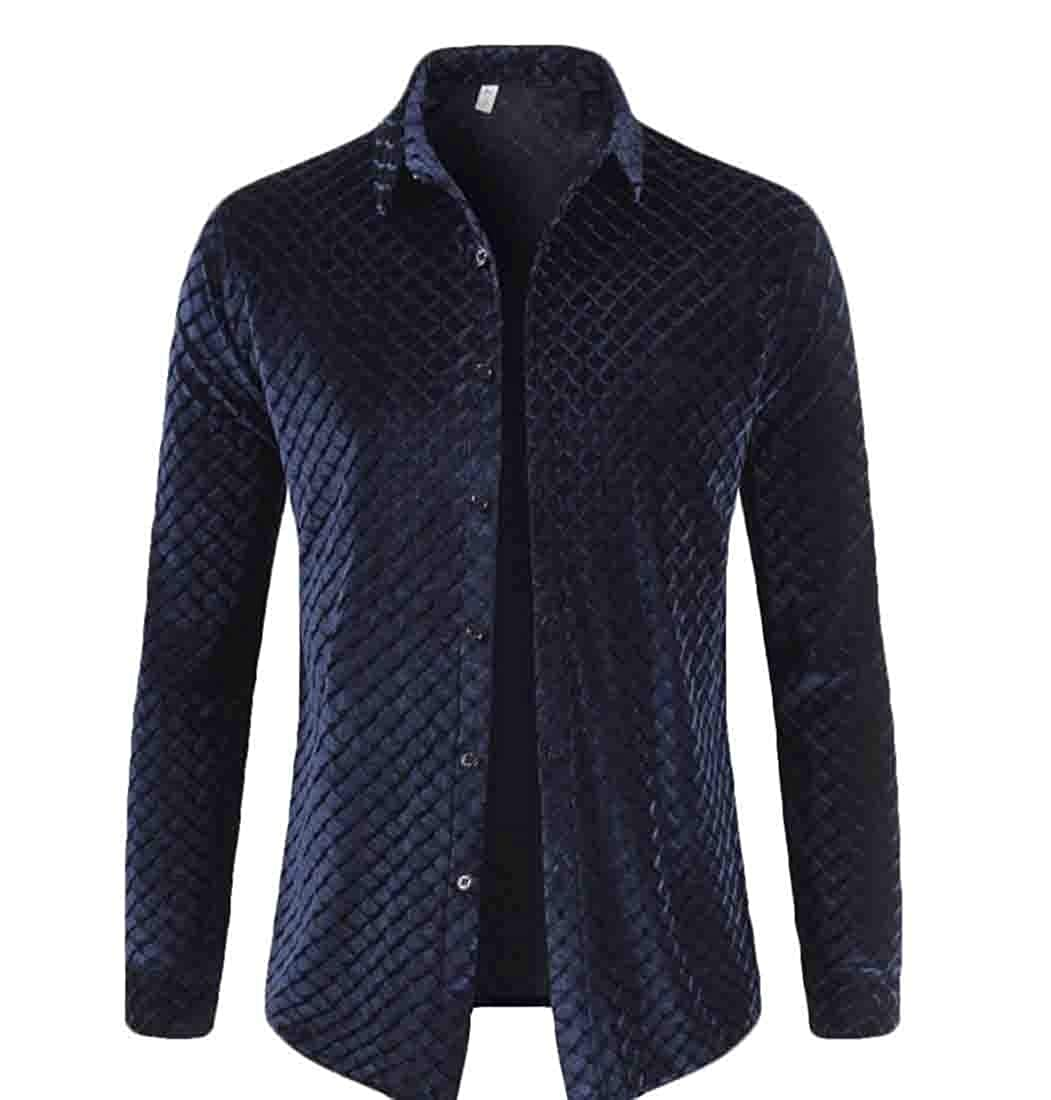 xiaohuoban Mens Long-Sleeve Autumn Button Front Fashion Velvet Slim Tops