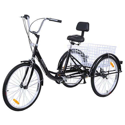 Ridgeyard Road Bike 6 Speed 24 Inch 3 Wheel Adult Tricycle Bike Cycling Pedal Cruiser Bicycles
