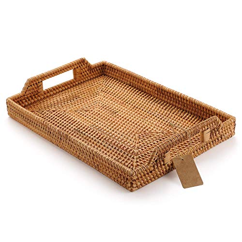 Hand-Woven Rattan Rectangular Serving Tray with Handles for Breakfast, Drinks, Snack for Dining/Coffee Table (14.5 inch /37cm)