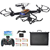 F181W FPV Drones for Beginners with Camera Live Video, Hover RC Quadcopter Kit with Portable Case, Bonus Batteries, RTF Helicopter with Altitude Hold, Headless Mode, One Key Return, Black