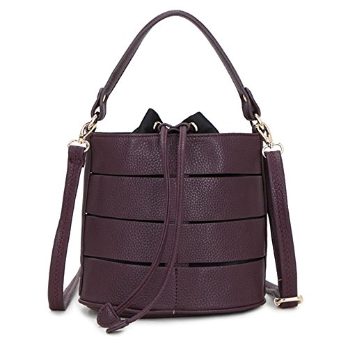 LS and Redwine Shoulder Bags Grab Sling Handle Ladies Detachable Drawstring Bag with Long Strap Bucket Splicing Body Hollow Fashion Design Adjustable Cross fUfrFnS1x
