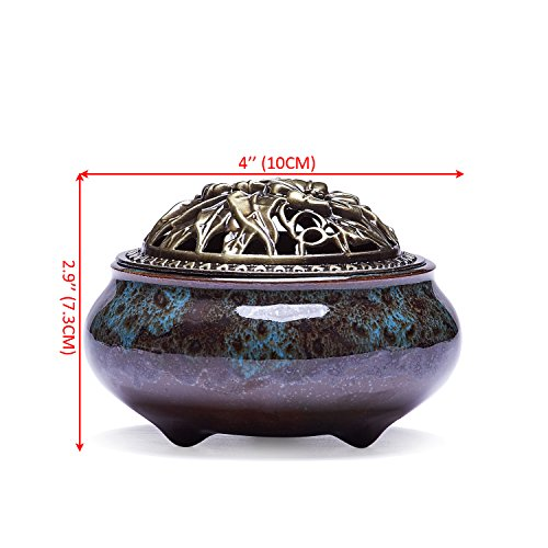 UOON Ceramic Stick Incense Burner and Cone Incense Holder Ash Catcher (Blue)
