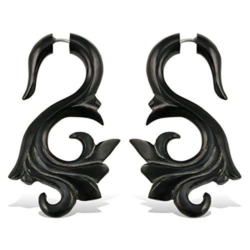 (Fake Plugs Earrings Hand Carved Horn Tropic Curls)