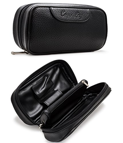 Pipe Bag, PU Leather Tobacco Pipe Accessories Pouch Holder 2 Pipes, Black, by Capo Lily