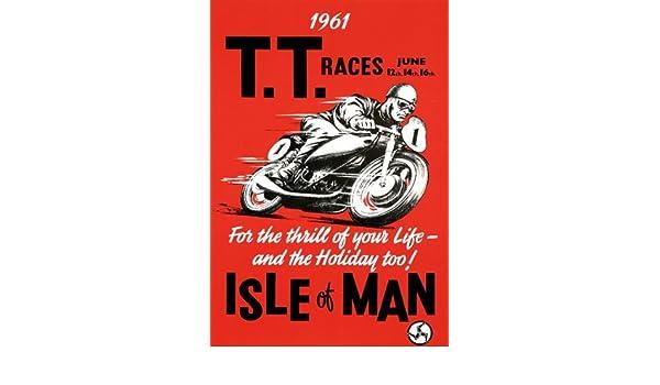"14/"" Print Isle of Man TT Motorcycle Racing Art Deco style Art Print"