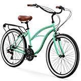 "sixthreezero Around The Block Women's 21-Speed Cruiser Bicycle, Mint Green w/ Brown Seat/Grips, 26"" Wheels/17"" Frame"