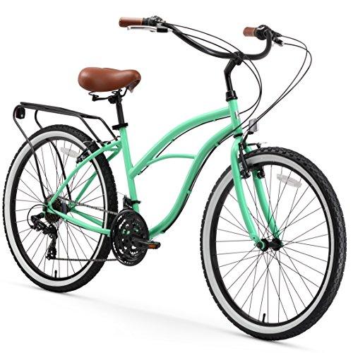 - sixthreezero Around The Block Women's 21-Speed Cruiser Bicycle, Mint Green w/ Brown Seat/Grips, 26
