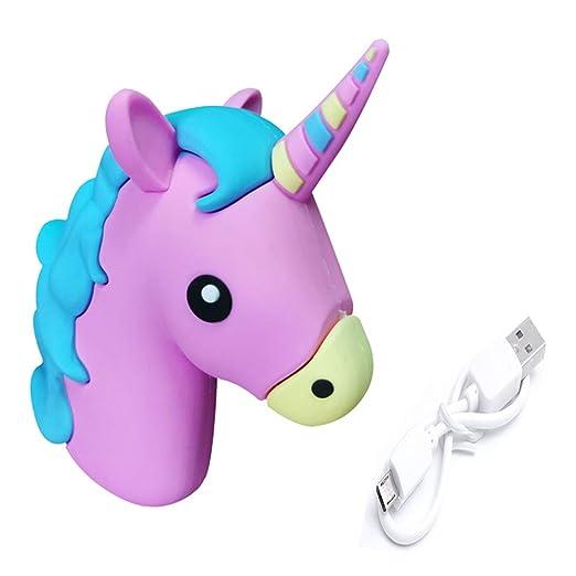 UBMSA Cargador unicornio Emoji Powerbank 2600mAh cargador de batería externa unicornio morado - emoticono- para smartphones y otros dispositivos con ...