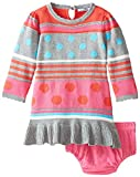 Hartstrings Baby Girls Stripe and Dot Sweater Dress and Panty, Tamarillo, 18 Months