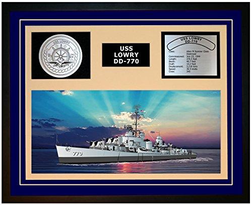 Navy Emporium USS Lowry DD 770 Framed Navy Ship Display Blue