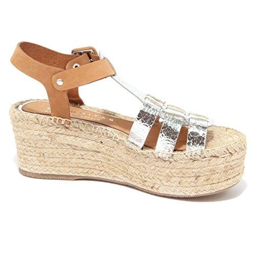 8895P sandalo PALOMITAS BY PALOMA BARCELO scarpa donna sandal woman argento/cuoio