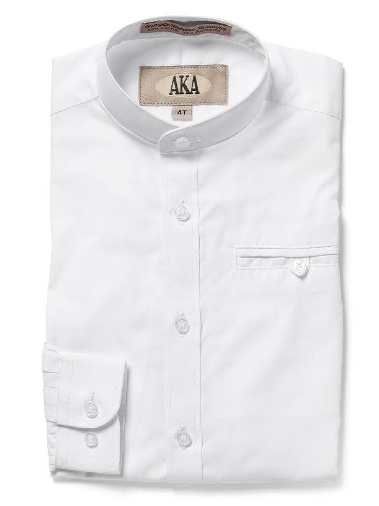 AKA Boys Dress Shirt White Mandarin Collar Long Sleeve - Solid White 3T